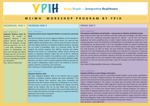 YPIH Workshop Program WCIMH 2017